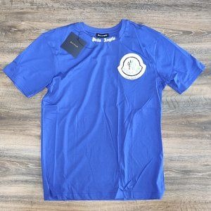 Palm Angels Navy Blue Moncler Logo Men T-shirt